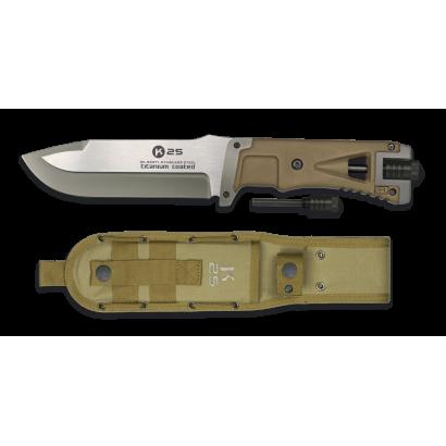 K25. Cuchillo tac. coyote. con ped. 14.5