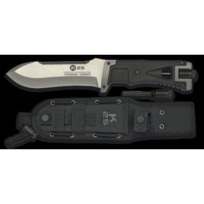 K25.Cuchillo tac.negro. Pedernal. H:14.5