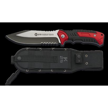 Cuchillo K25 con sierra rojo. Hoja: 14 c