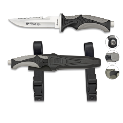 Cuchillo Submarinismo Negro Nautilus.