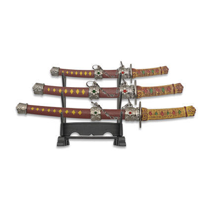 Set 3 mini Katanas granate c/peana