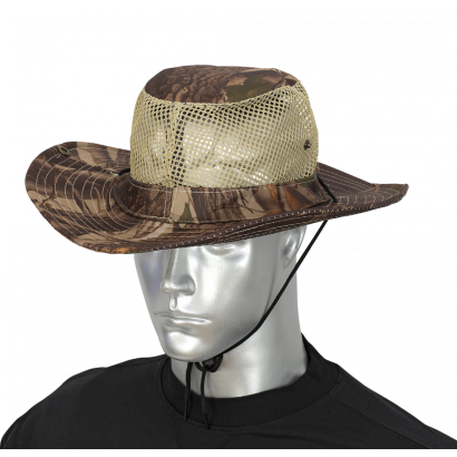 sombrero con rejilla. camo marron