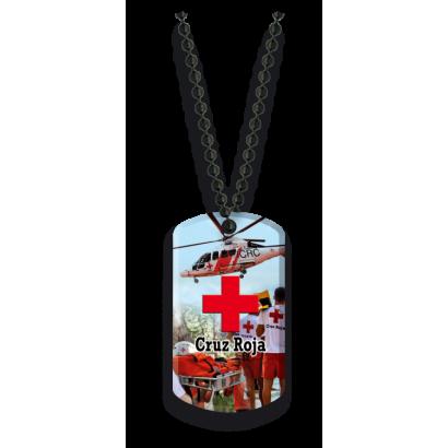Placa con cadena de bolas Cruz Roja