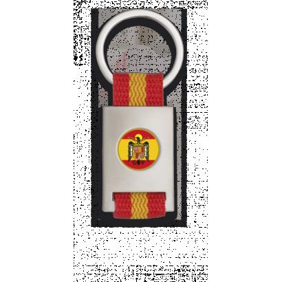 Llavero rectangulo plata + cinta bandera