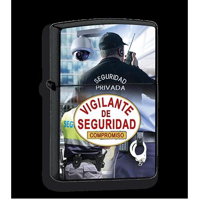 mechero negro vigilante de seguridad