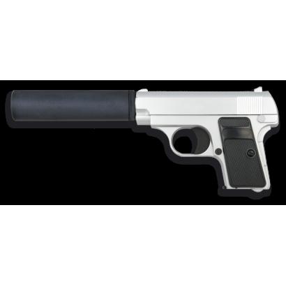 Pistola AIRSOFT.Metal.Plata.