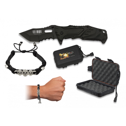 Set navaja+caja+pulsera cuero